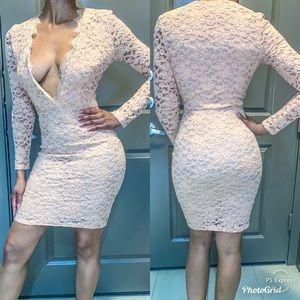 Lace blush colored midi dress